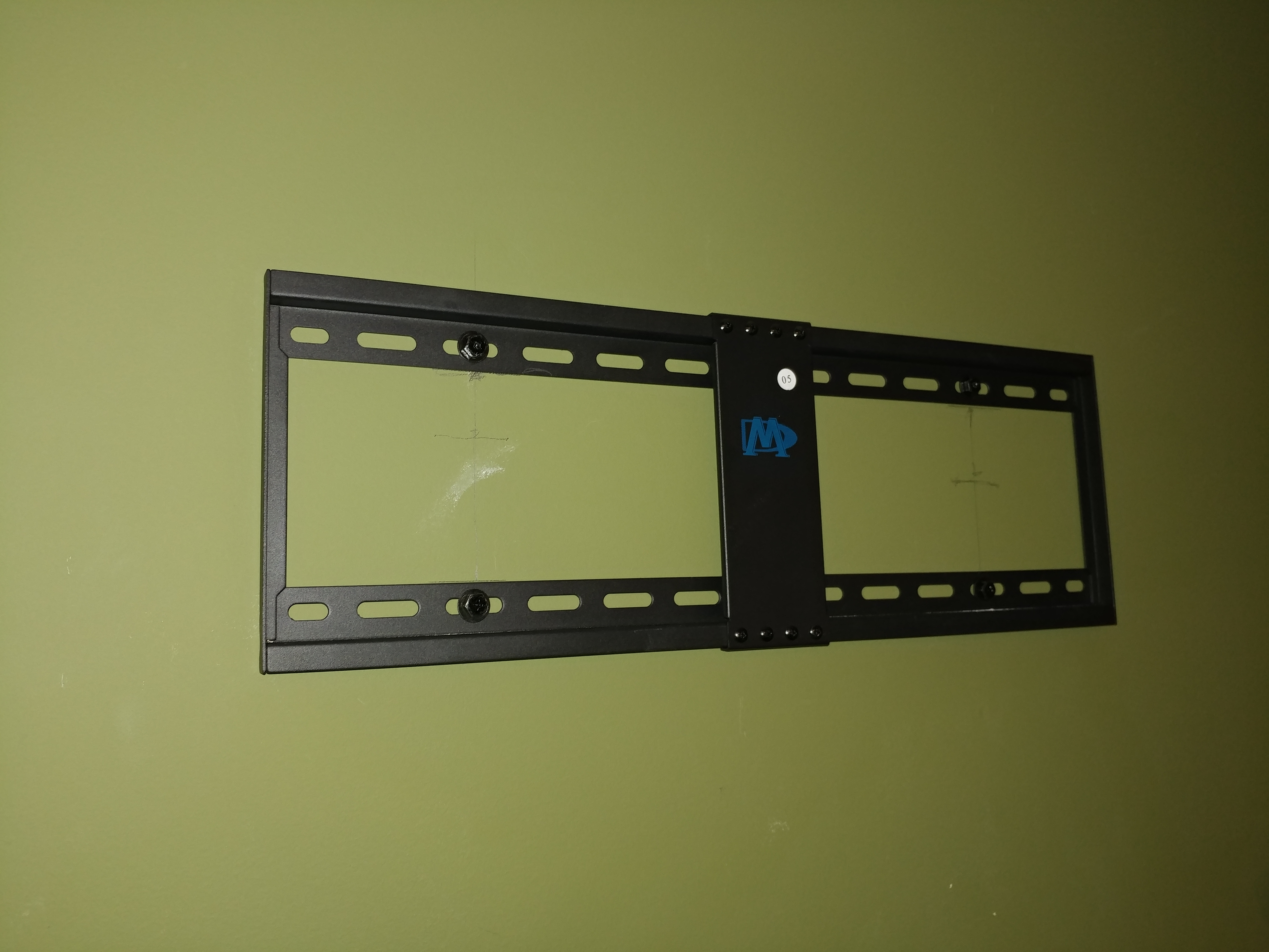 TV monitor mount installed