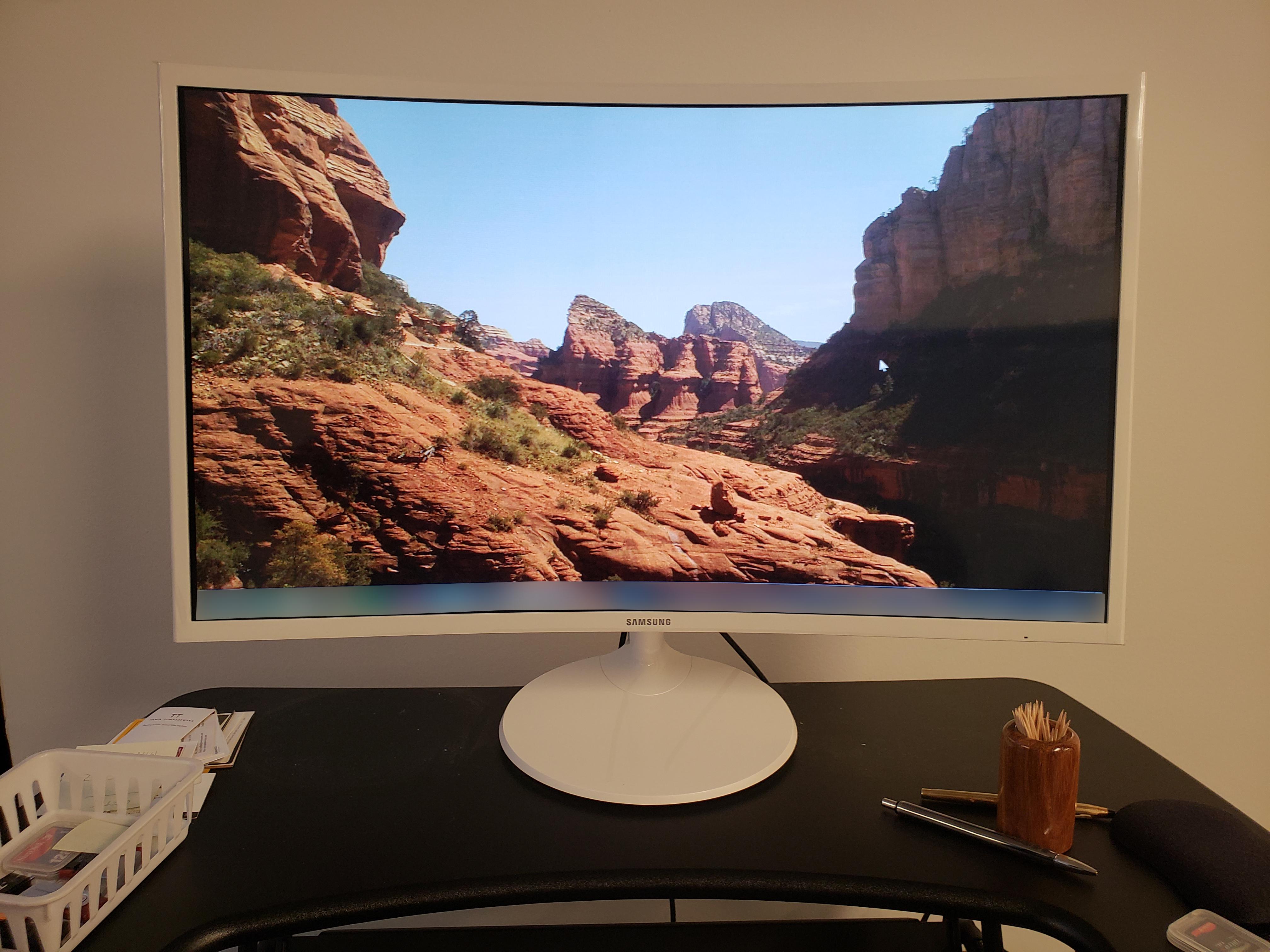 brand new curved monitor setup