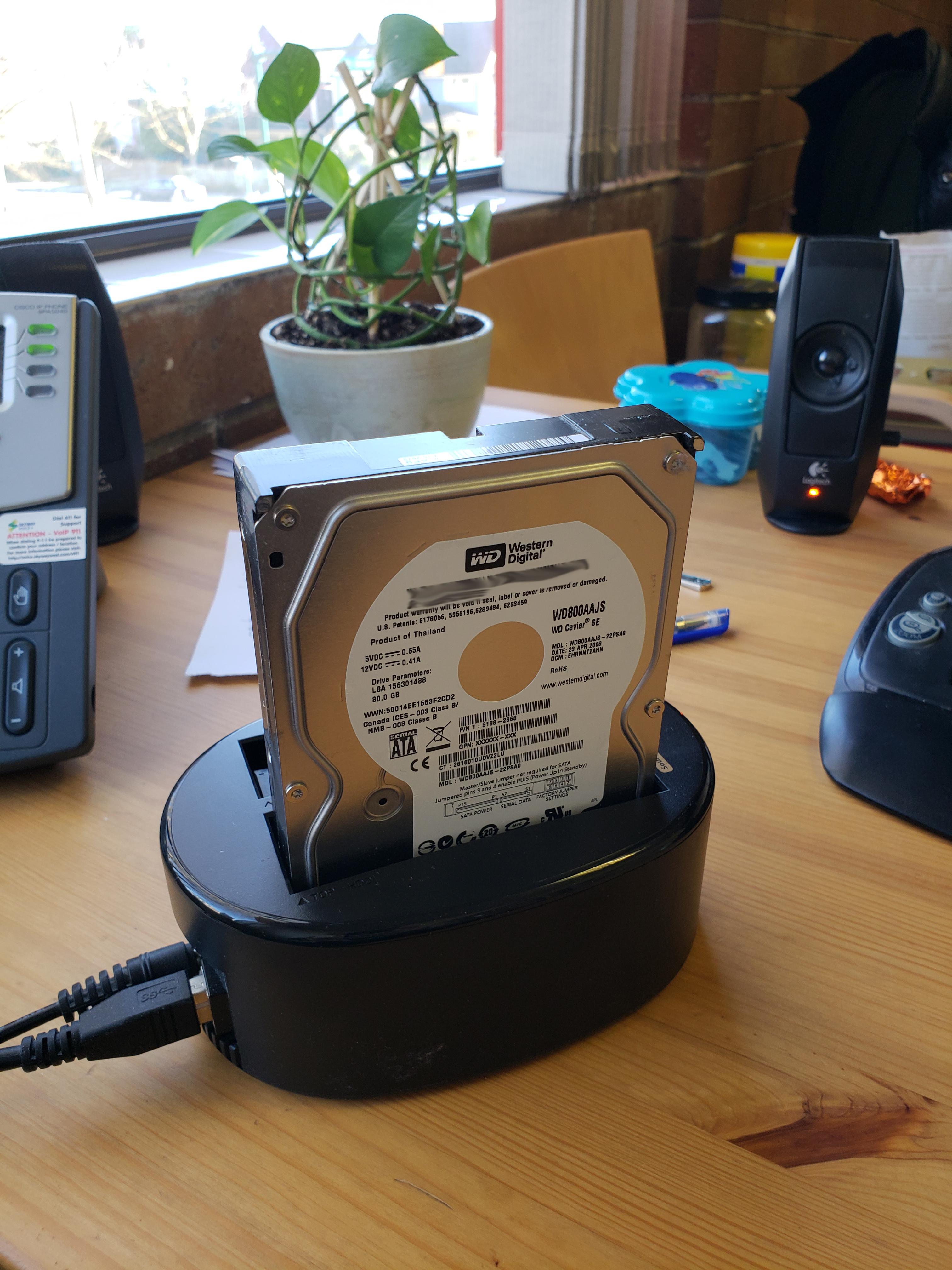 data back up using USB docking station