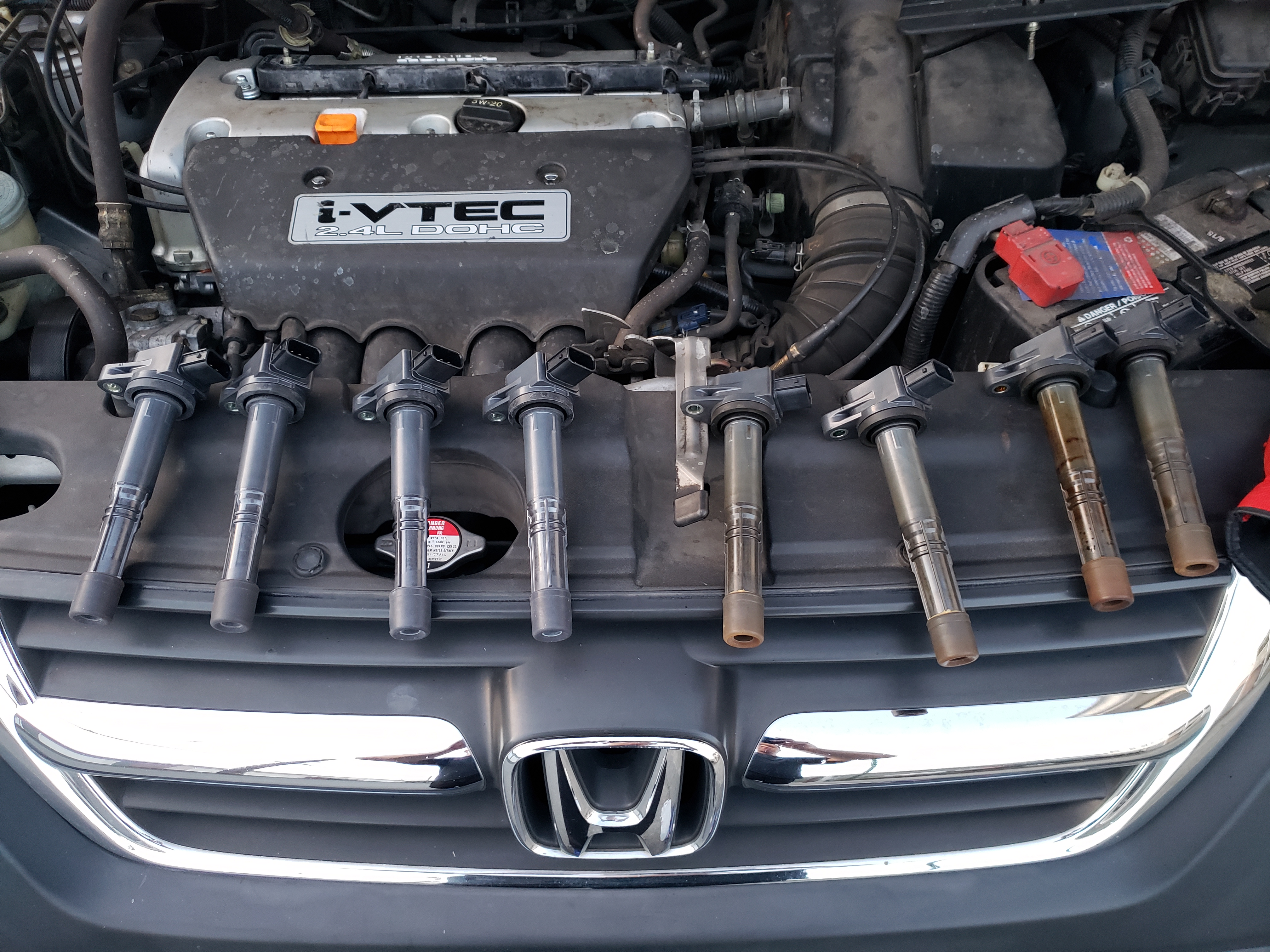 new ignition coils (left) vs. old ignition coils (right)