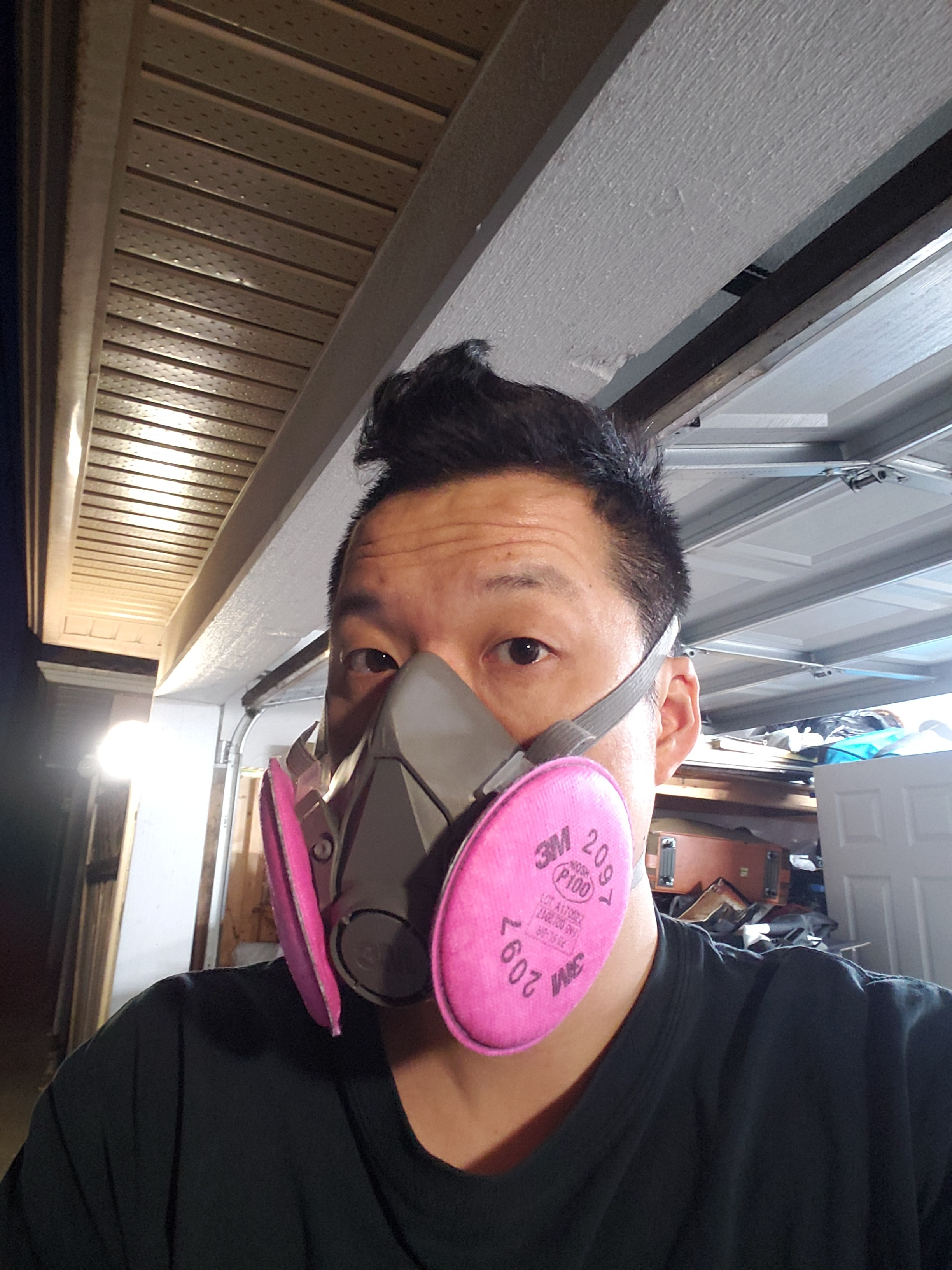 3M half mask respirator, ready for clear protective spray headlights