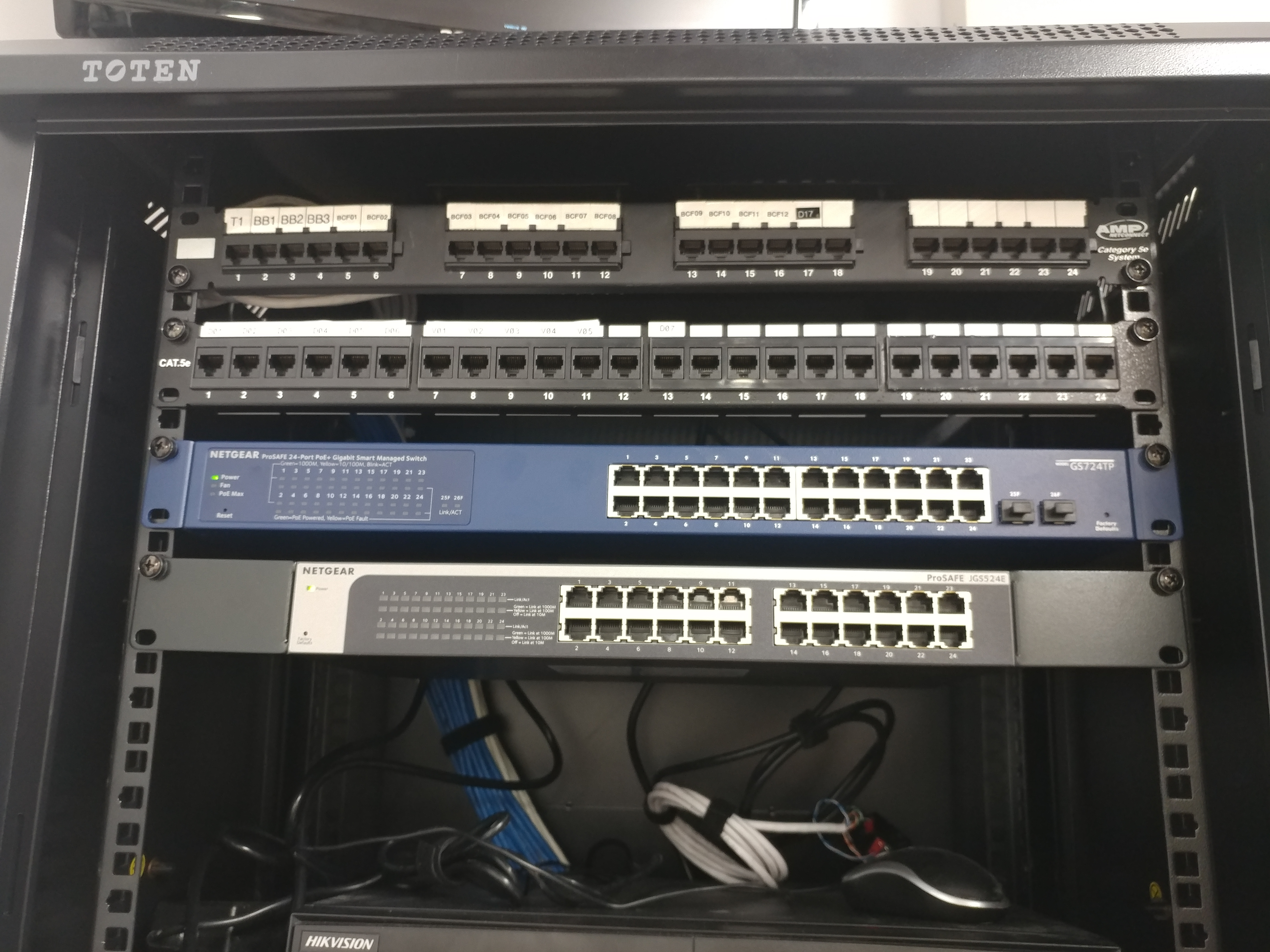 new patch panels and Ethernet switches in the new rack