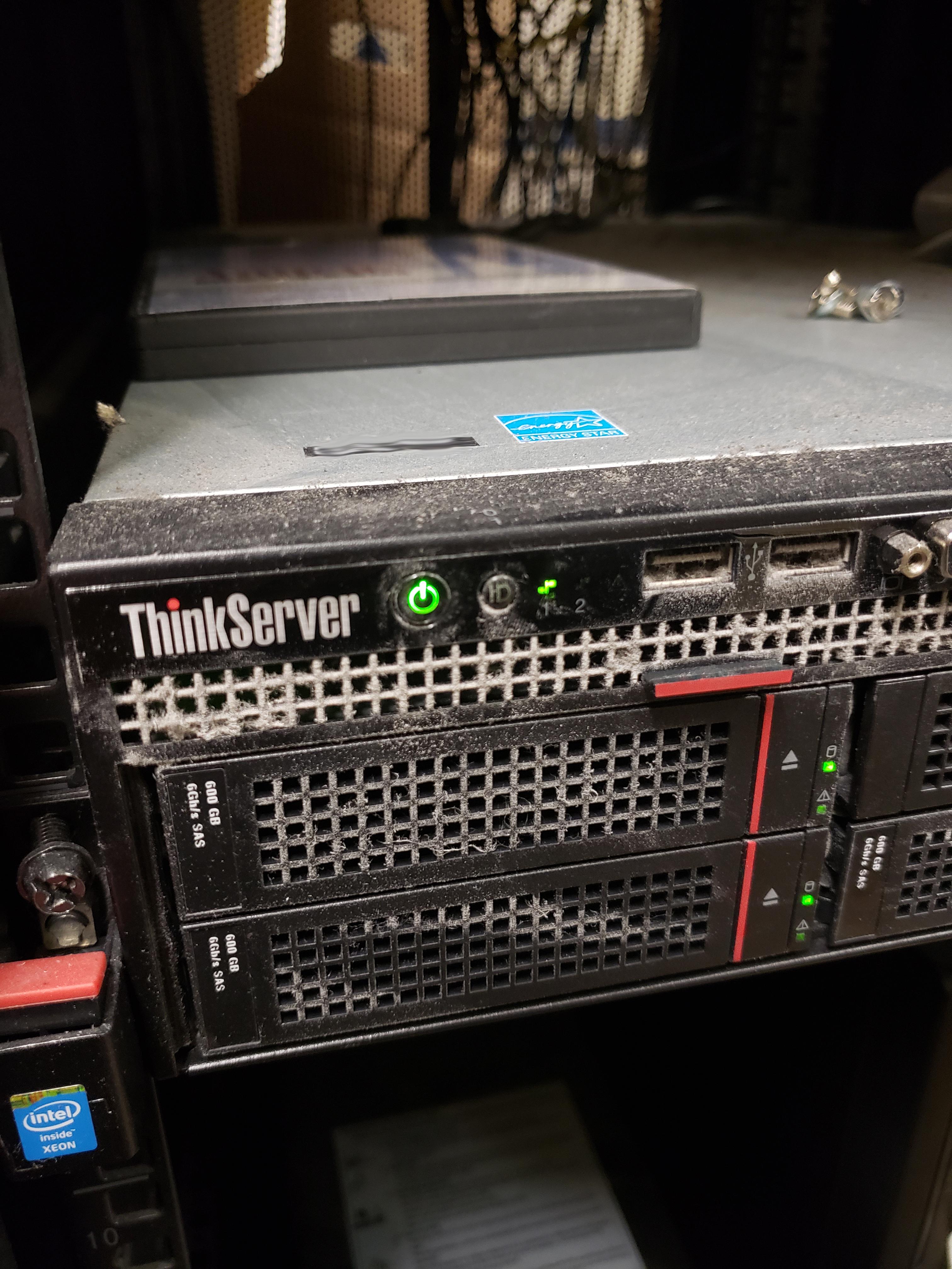 server rack with server (close up photo)
