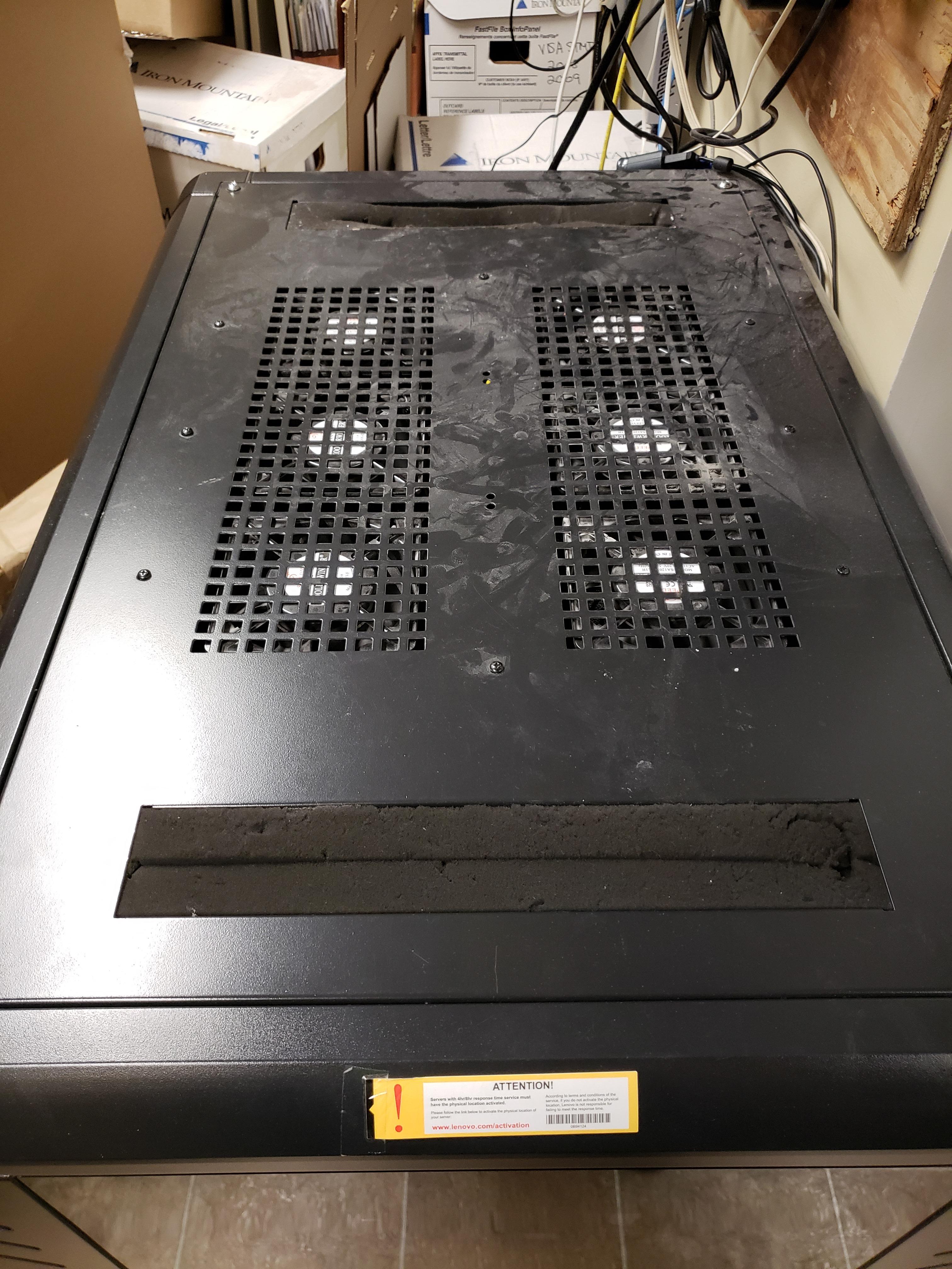 old fans on server rack